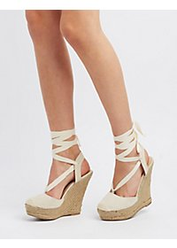 Lace-Up Espadrille Wedges