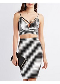Striped Strappy Cropped Tank