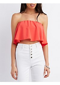 Strapless Flounce Crop Top