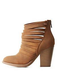 Strappy Faux Suede Ankle Booties