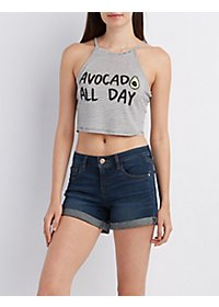 Striped Cropped Graphic Tank