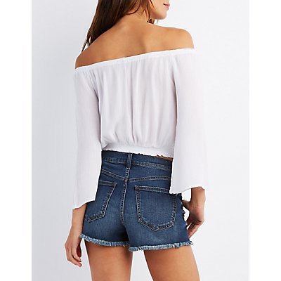 Off-the-Shoulder Embroidered Peasant Top