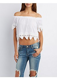 Crochet-Trim Off-the-Shoulder Crop Top