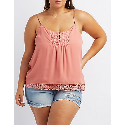 Plus Size Crochet-Trim Button-Up Tank Top