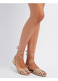 Laser Cut Ankle Wrap Sandals