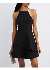 Bib Neck Ruffled Skater Dress