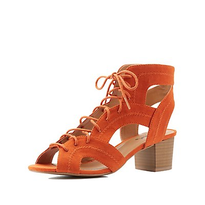 Qupid Lace-Up Chunky Heel Sandals