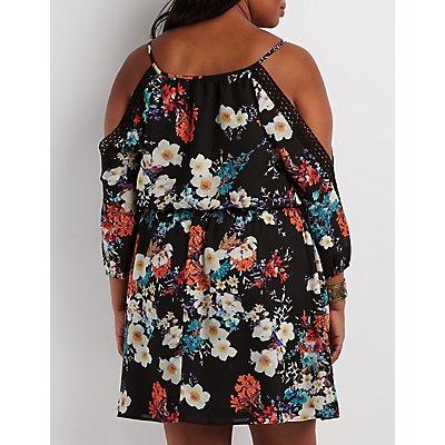 Plus Size Floral Print Cold Shoulder Dress