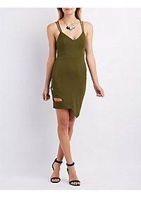 Caged V-Neck Bodycon Dress