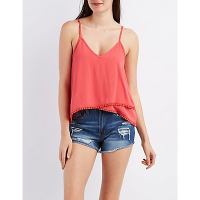 Strappy Crochet-Trim Tank Top
