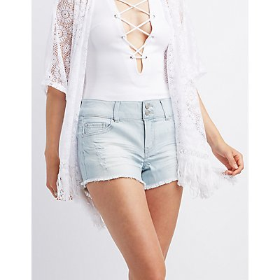 Refuge Mid-Rise Shortie Cut-Off Shorts