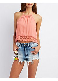 Lace-Trim Halter Crop Top