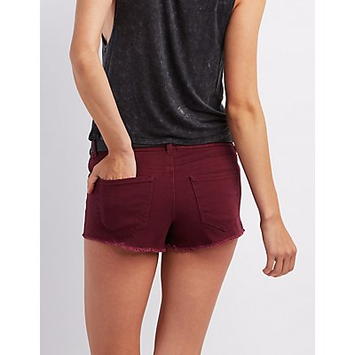 """Refuge """"Shortie"""" Colored Cut-off Shorts"""
