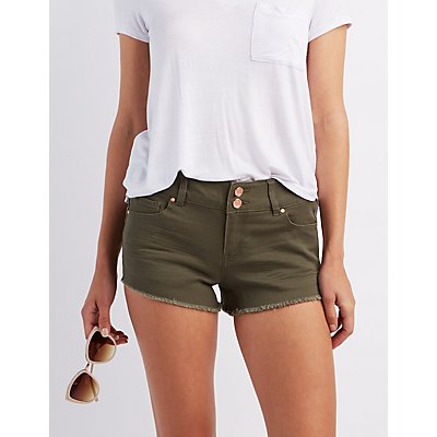 "Refuge ""Shortie"" Colored Cut-off Shorts"