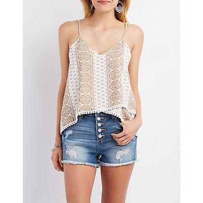 Crochet-Trim Layered Tank Top
