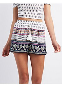 Border Print Crochet-Trim Shorts