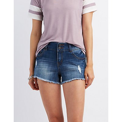"Refuge ""Mid-Rise Shortie"" Cut-Off Shorts"