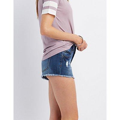 "Refuge ""Mid-Rise Shortie"" Cut-Off Shorts"