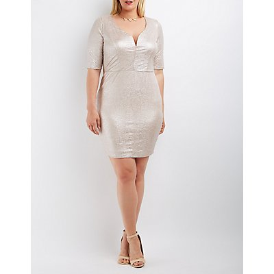 Plus Size Shimmer Notched Bodycon Dress