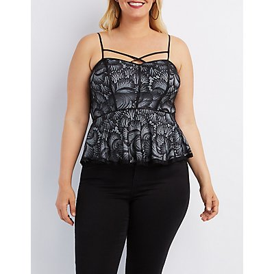 Plus Size Caged Lace Tank