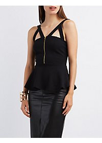 Zip-Up Peplum Tank