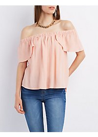 Off-the-Shoulder Crepe Top