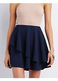 Asymmetrical Layered Skater Skirt