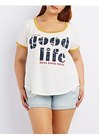 Plus Size Graphic Ringer Tee