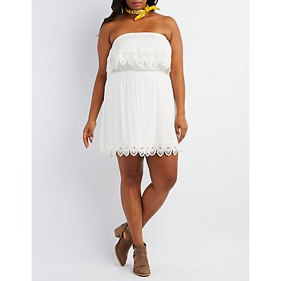 Plus Size Crochet-Trim Strapless Dress