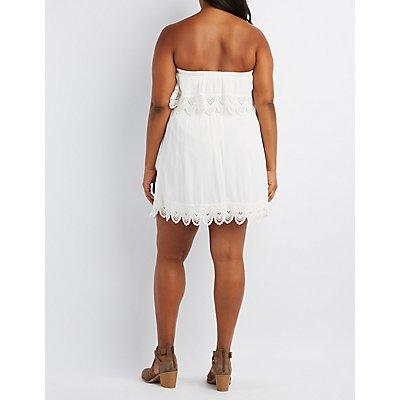 Plus Size Crochet-Trim Strapless Dress