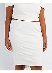 Plus Size Textured Midi Pencil Skirt