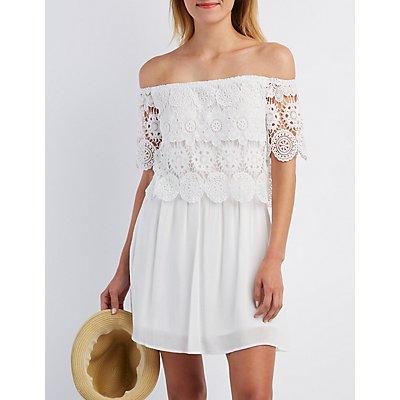 Crochet Off-the-Shoulder Skater Dress