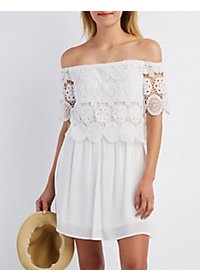 Crochet Off-the-Shoulder Skater Dress