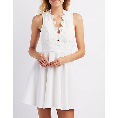 Plunging Crochet Skater Dress