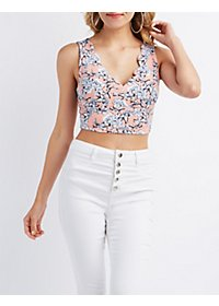 Printed Scalloped Cropped Tank