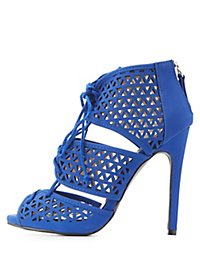 Qupid Lace-Up Laser Cut Dress Sandals