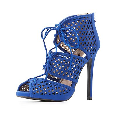 Qupid Lace-Up Laser Cut Dress Sandals