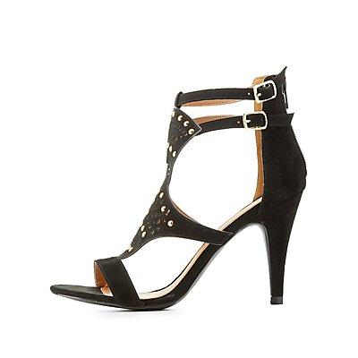 Qupid Embellished Laser Cut Dress Sandals