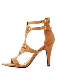 Qupid Embellished Laser Cut Dress Sandals