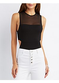 Mesh Yoke Open Back Bodysuit