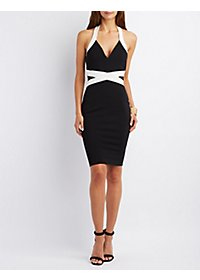 Color Block Halter Bodycon Dress