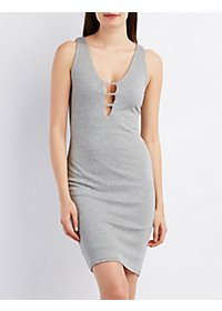 Ladder Plunge Ribbed Bodycon Dress