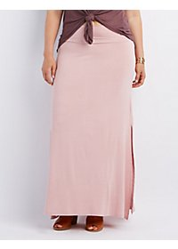 Plus Size Double Slit Maxi Skirt
