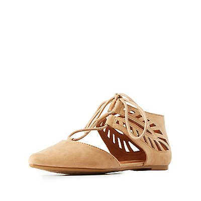 Bamboo Lace-Up Laser Cut Flats