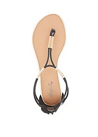 Qupid Metal-Trim Thong Sandals