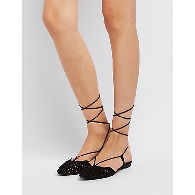 Qupid Ankle Wrap Laser Cut Flats