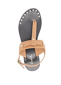Qupid Textured T-Strap Sandals
