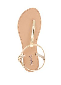 Qupid Metallic T-Strap Sandals