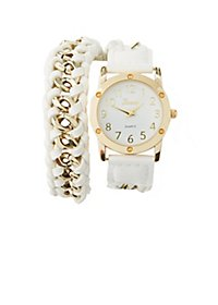 Braided Chain Strap Wrap Watch