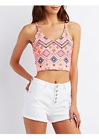 Printed Strappy Caged Cropped Tank